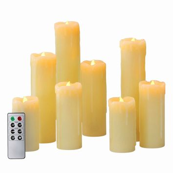 "Flameless LED Candles by LampLust | Battery Operated, Ivory Wax Drip, Heights of 4"",5"",6"",7"",8"" 