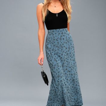 Afternoon Flirt Slate Blue Floral Print Maxi Skirt