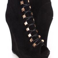 Black Lace Up Peep Toe Wedge Booties Faux Suede