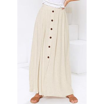 Brief Beige Buttoned Maxi Skirt