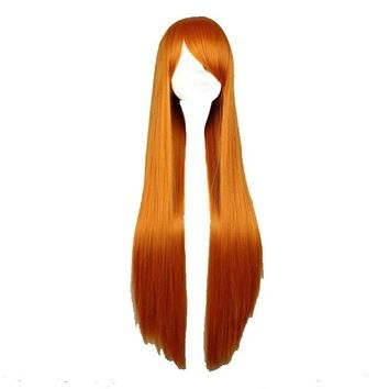 80cm Long Straight Synthetic Orange Color Cosplay Costume Wig