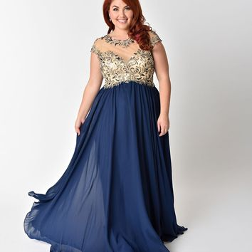 Plus Size Navy Blue Chiffon & Beaded Illusion Neckline Long Dress