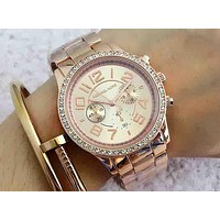 Michael Kors MK Trending Unisex Casual Two Eye Diamond Quartz Movement Watches Wristwatch Rose Gold I-Fushida-8899