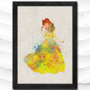 Beauty and Beast Disney Belle Print Watercolor Art Print Home Decor Giclee Wall Art Poster Wall Decor Art Home Decoration Linen Poster CAP04