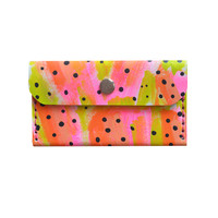 Fruit Leather Wallet in Hot Pink Orange and Green, Card Holder | Boo and Boo Factory - Handmade Leather Jewelry