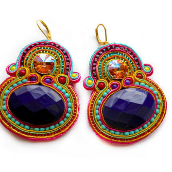 RAINBOW LORIKEET soutache earrings in purple, turquoise, orange, pink and yellow with Swarovski rivoli