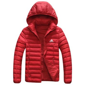 Adidas New fashion keep warm couple high quality cap removable hooded down jacket Red