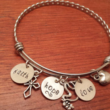 "Hand stamped bangle bracelet ""faith, hope and love"""