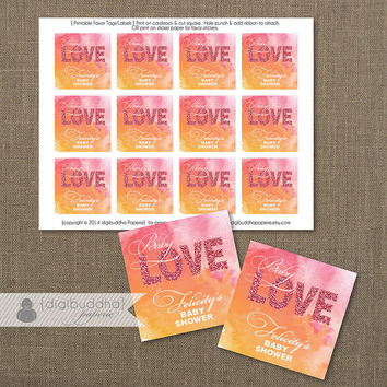 """Pink Glitter & Orange Watercolor Favor Tags Baby Love Baby Shower Labels Thank You Tags 2.25"""" Square DIY Printable or Printed- Felicity"""