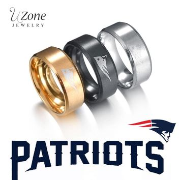 UZone New England Patriots Ring For Men Football Team Logo Wedding Bands Titanium Steel Ring Sport Jewelry For Fans Party Gift
