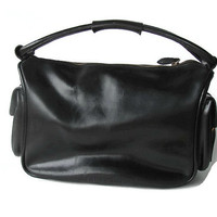 Authentic Miu Miu by Prada handbag. Militarily style. Black leather designer bag. High Fashion vintage gifts.