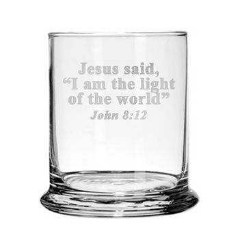 Glass Candle Holder Engraved with Bible Verse Prayer Religious Gift
