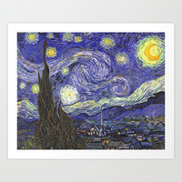 Starry Night, by Vincent van Gogh.  famous impressionism fine art landscape oil painting. Art Print by NatureMatters