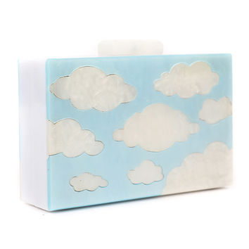 Blue Clouds Pattern Chain Clutch Bag
