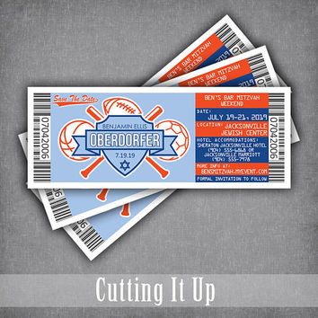 Sports Bar Mitzvah Save The Date Tickets, Ticket Logo Magnets, Baseball Wedding Theme Magnet, DIY Template, Denver Broncos Florida Gators