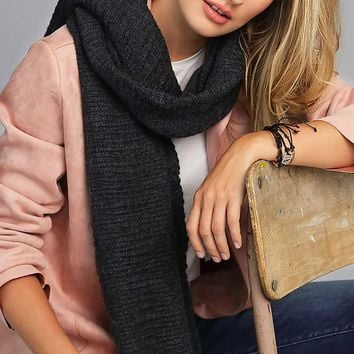 Black Soft Thick Knit Scarf