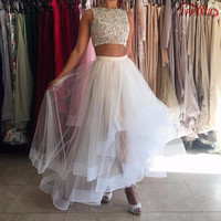 Mild A-Line 2 Piece Prom Dresses White Sleeveless O-Neck Ankle-Length Short Prom Dress Top Tulle Prom Gown With Beading PD96