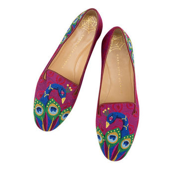 Charlotte Olympia Women's Designer Flat Shoes | Charlotte Olympia - PEACOCK SLIPPER