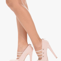 Blush Open Triple Strap High Heels