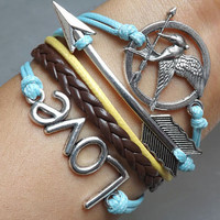 Bracelet - the ancient silver LOVE bracelet, bracelets and arrows of the Hunger Games bracelet, leather woven bracelet