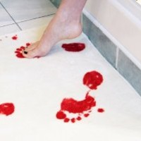 Close Up Bath Mat, Soft and Fluffy, Authentic Blood-smeared Footprints