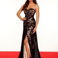 Romantic Strapless Black & Nude Pageant Dress By Mac Duggal 78582R