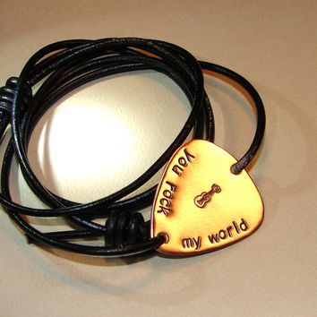 You rock my world copper guitar pick leather wrap bracelet