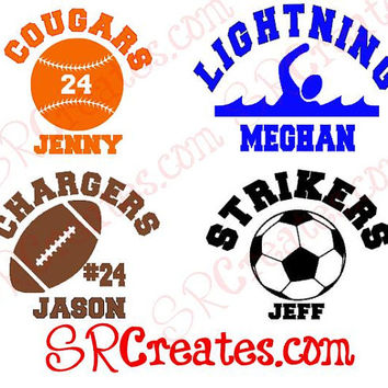 Sports Star Car Decal - Soccer, Baseball, Swimming, Football... your choice!
