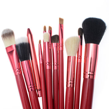 High Quality Makeup Tools Kit 12pcs Makeup Brushes Set Red Professional Cosmetic Brush Kit