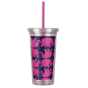 Tumbler with Straw in Tusk In Sun by Lilly Pulitzer