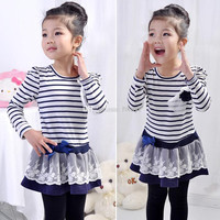 Children's Dresses/Baby Dresses/2014 Spring Girls striped skirt princess dress/Children's clothing