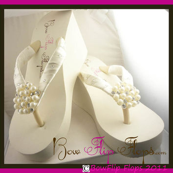 Design your own Pearl & Rhinestone Embellishment Flip Flops - Choose colors and heel height