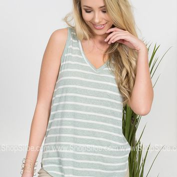 Mint Striped Pocket Tank