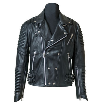 Lambskin Leather Ribbed Moto Jacket by GodSpeed