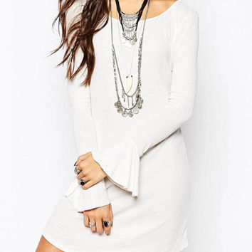 White Bell Sleeve Backless Knitted Mini Dress