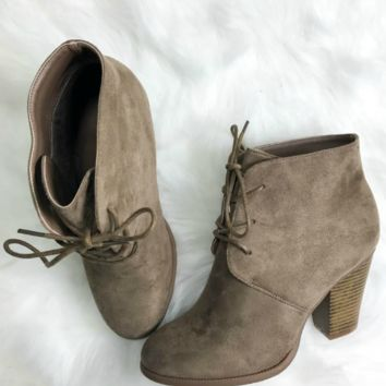 Modern Fairytale Taupe Suede Bootie