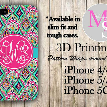 Monogram iPhone Case Personalized Phone Case Lilly Pulitzer Inspired Monogrammed iPhone Case, Iphone 4S Iphone 4, iPhone 5S, iPhone 5C #2284