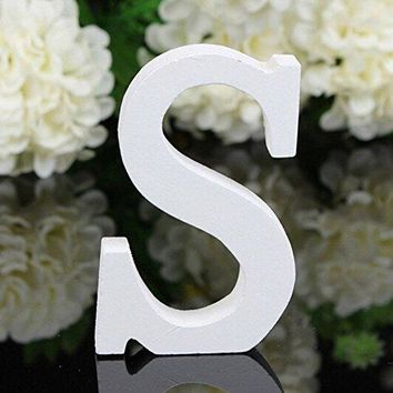 Decorative Wood Letters,Totoo Hanging Wall 26 Letters Wooden Alphabet Wall Letter for Children Baby Name Girls Bedroom Wedding Brithday Party Home Decor-Letters (S)