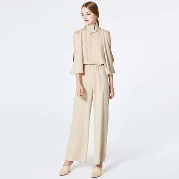 Nude Jumpsuits Women Shoulder Hollow Out Bat-Wing Sleeves Elastic Waist Back Lace Up Style Ladies