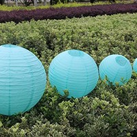 Pack of 12 Mixed 12'' and 8'' Chinese Round Paper Lanterns with Mini LED Party Light for Wedding Engagement Birthday Party Decoration Favor Color Teal
