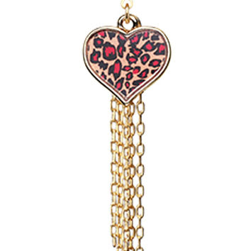 Golden Colored Leopard Heart Tassel Belly Button Ring