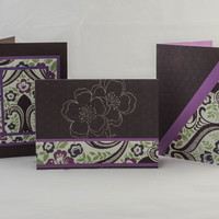 Elegant purple green brown paisley greeting cards (3)