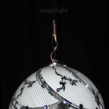 Glass Hand Painted Silk Screen Modern Ceiling Light Lamp Chandelier Pendant Lighting