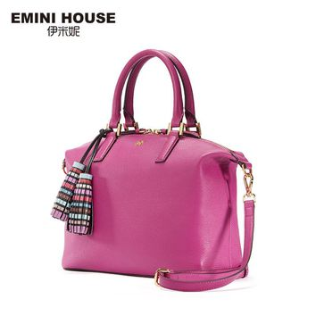 EMINI HOUSE Genuine Leather Shoulder Bag Vintage Tassel Hobos Bag Women Messenger Bags Luxury Handbags Women Bags Designer