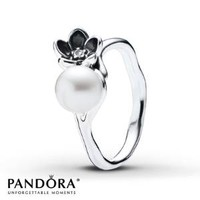 PANDORA Ring Cultured Pearl Floral Sterling Silver