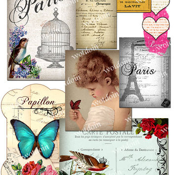 Printable Collage Sheet Birds Birdcage Flowers Vintage Image Paris Love Eiffel Tower Butterfly Ephemera Printable Image Transfers Clip Art