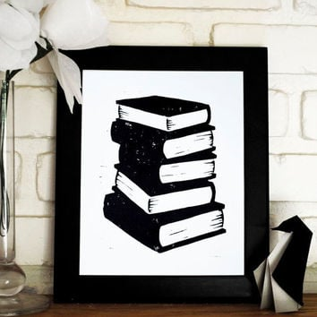 Book Stack Block Print 8x10 inch Black Linocut by CursiveArts
