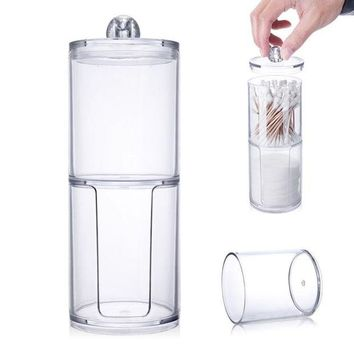 ONETOW Makeup Remover Paper Cotton Pads Swab Transparent Dual Layer Cylinder Acrylic Nail Art Remover Paper Holder