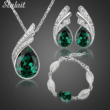 Wholesales bridal Jewelry set  Austrian Crystal fashion leaf tear feather Water drop pendant necklace earrings jewelry sets