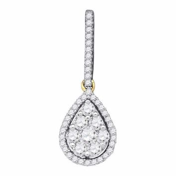 10kt Yellow Gold Women's Round Diamond Teardrop Cluster Pendant 3-4 Cttw - FREE Shipping (US/CAN)